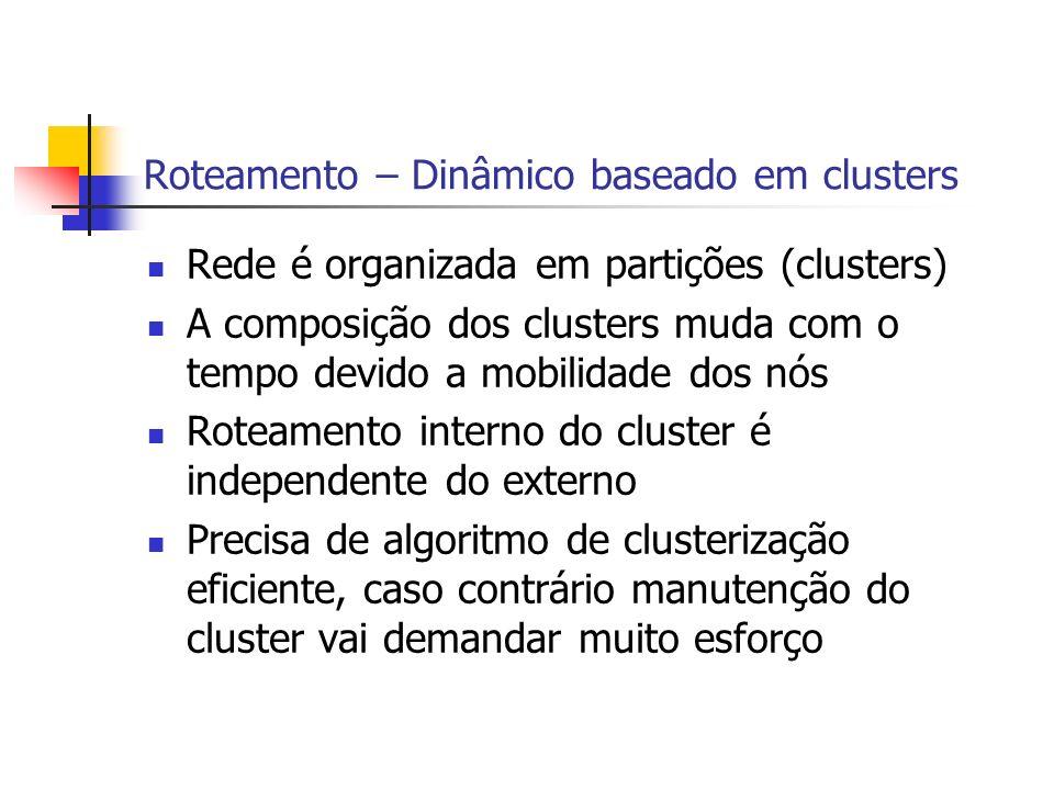 Roteamento – Dinâmico baseado em clusters