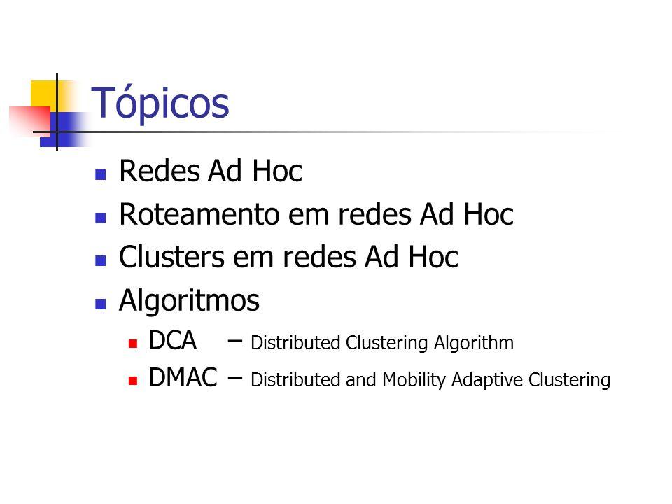 Tópicos Redes Ad Hoc Roteamento em redes Ad Hoc