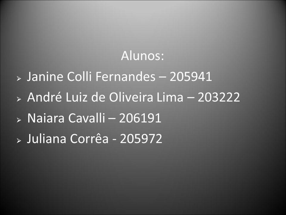 Alunos: Janine Colli Fernandes – 205941. André Luiz de Oliveira Lima – 203222. Naiara Cavalli – 206191.