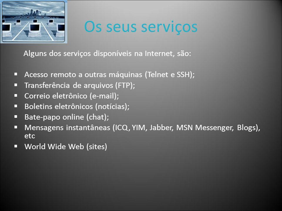 Os seus serviços Alguns dos serviços disponíveis na Internet, são: