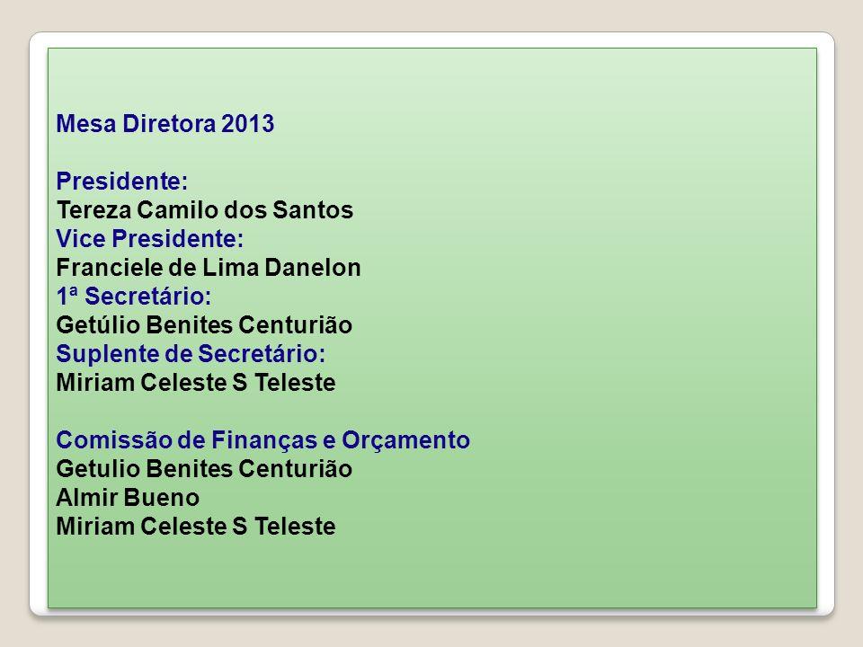 Mesa Diretora 2013Presidente: Tereza Camilo dos Santos. Vice Presidente: Franciele de Lima Danelon.
