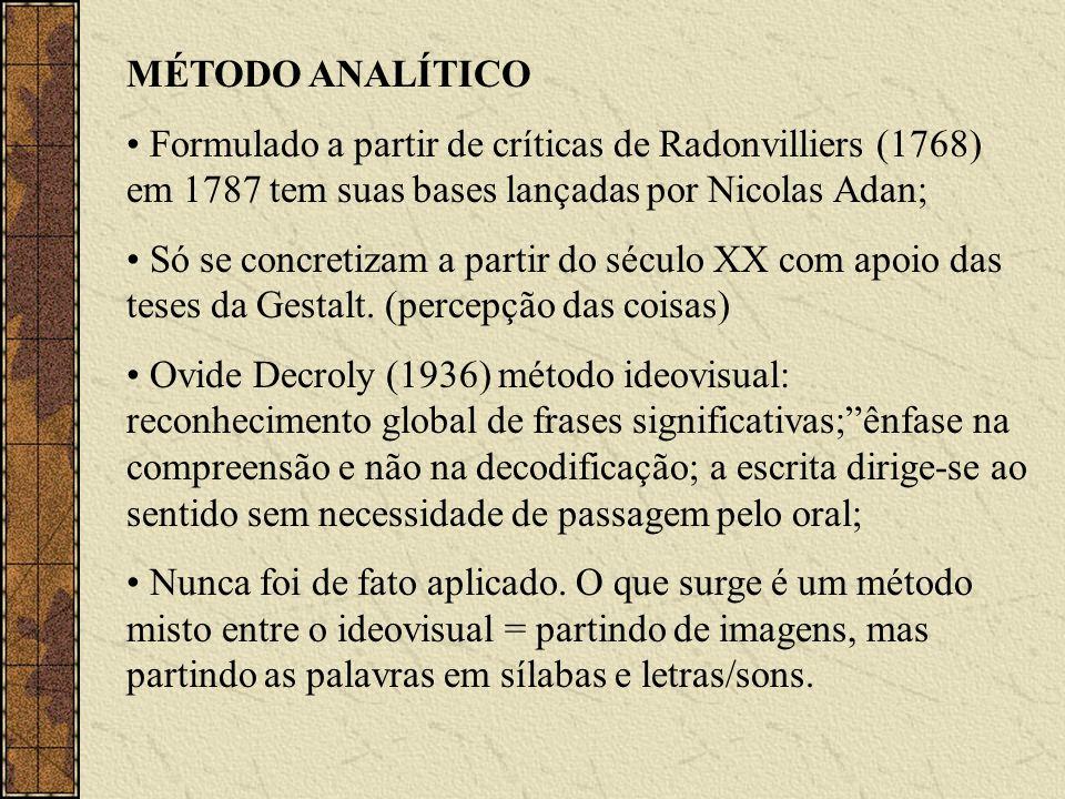 MÉTODO ANALÍTICOFormulado a partir de críticas de Radonvilliers (1768) em 1787 tem suas bases lançadas por Nicolas Adan;