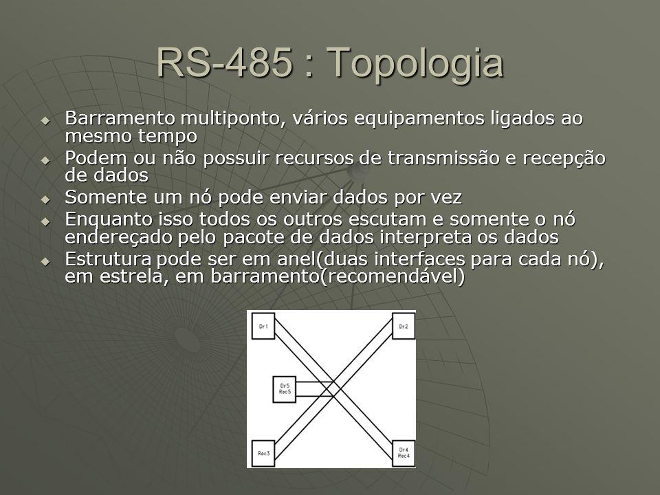 RS-485 : TopologiaBarramento multiponto, vários equipamentos ligados ao mesmo tempo.