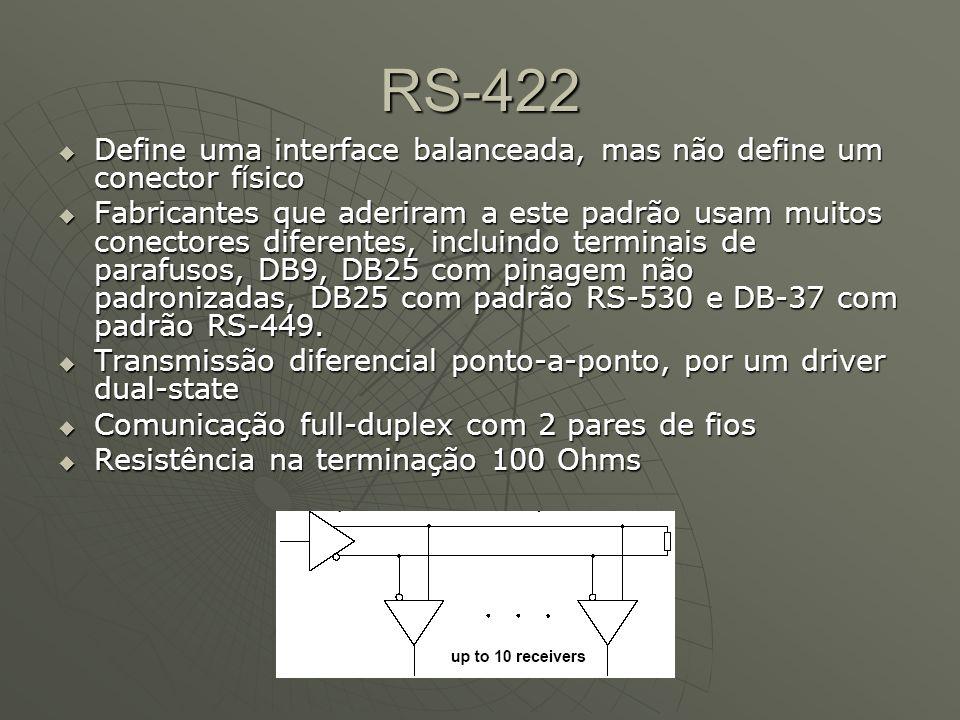 RS-422 Define uma interface balanceada, mas não define um conector físico.