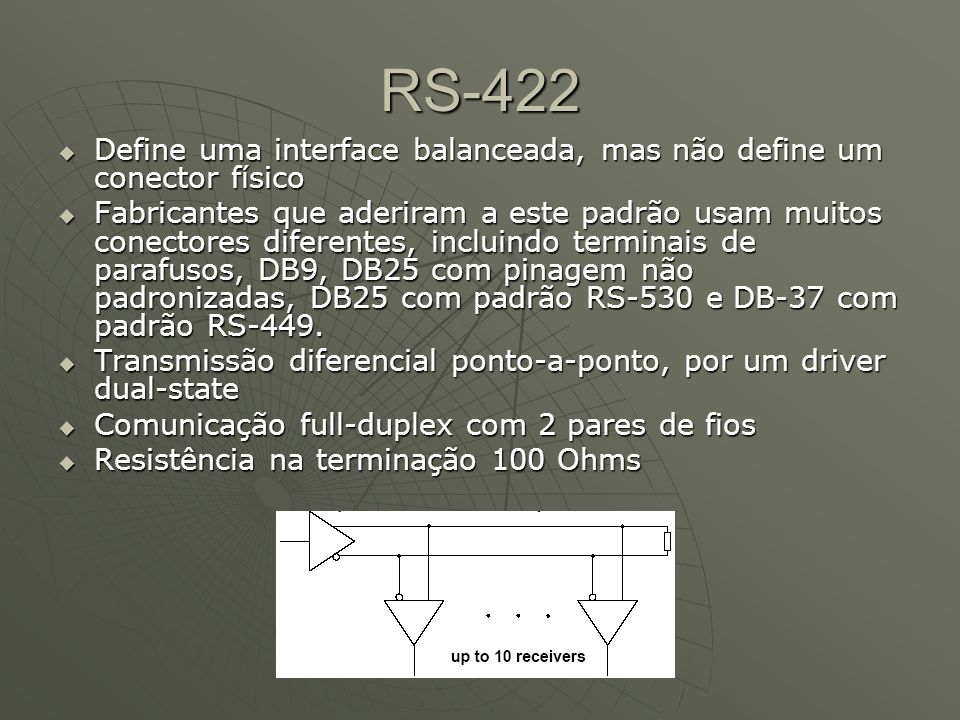 RS-422Define uma interface balanceada, mas não define um conector físico.