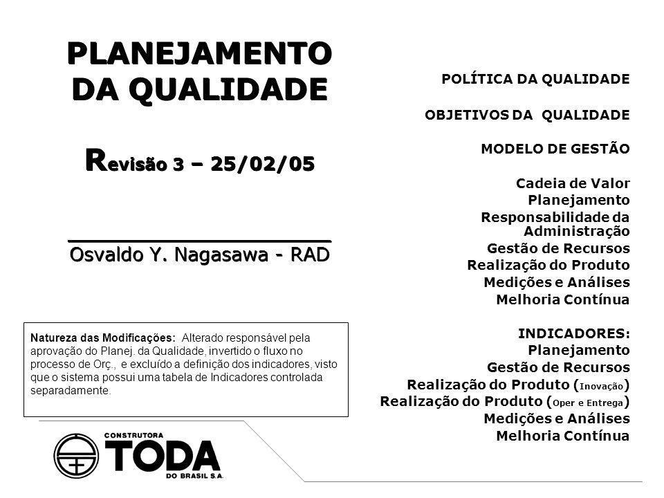 PLANEJAMENTO DA QUALIDADE Revisão 3 – 25/02/05 ____________________ Osvaldo Y. Nagasawa - RAD