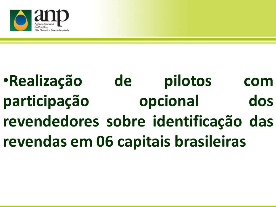 Realização de pilotos com participação opcional dos revendedores sobre identificação das revendas em 06 capitais brasileiras