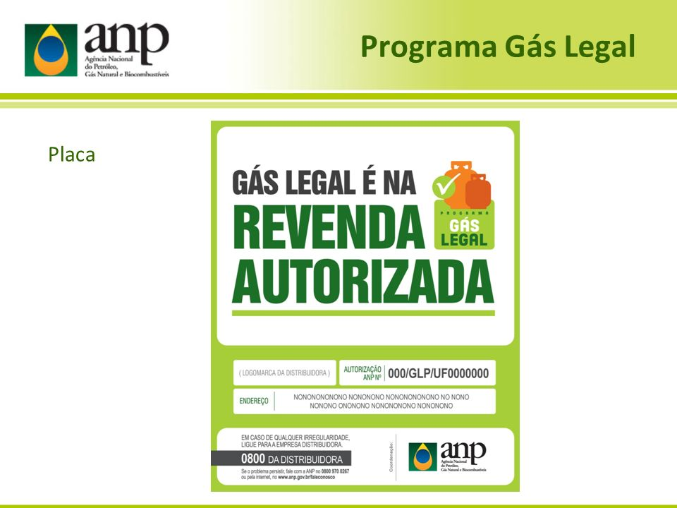Programa Gás Legal Placa