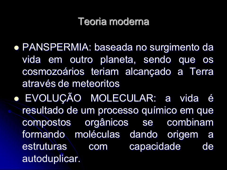 Teoria moderna PANSPERMIA: baseada no surgimento da vida em outro planeta, sendo que os cosmozoários teriam alcançado a Terra através de meteoritos.