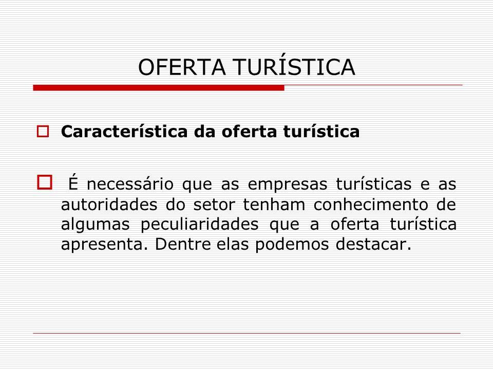 OFERTA TURÍSTICA Característica da oferta turística.