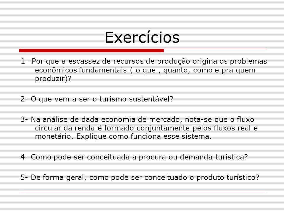 Exercícios 1- Por que a escassez de recursos de produção origina os problemas econômicos fundamentais ( o que , quanto, como e pra quem produzir)