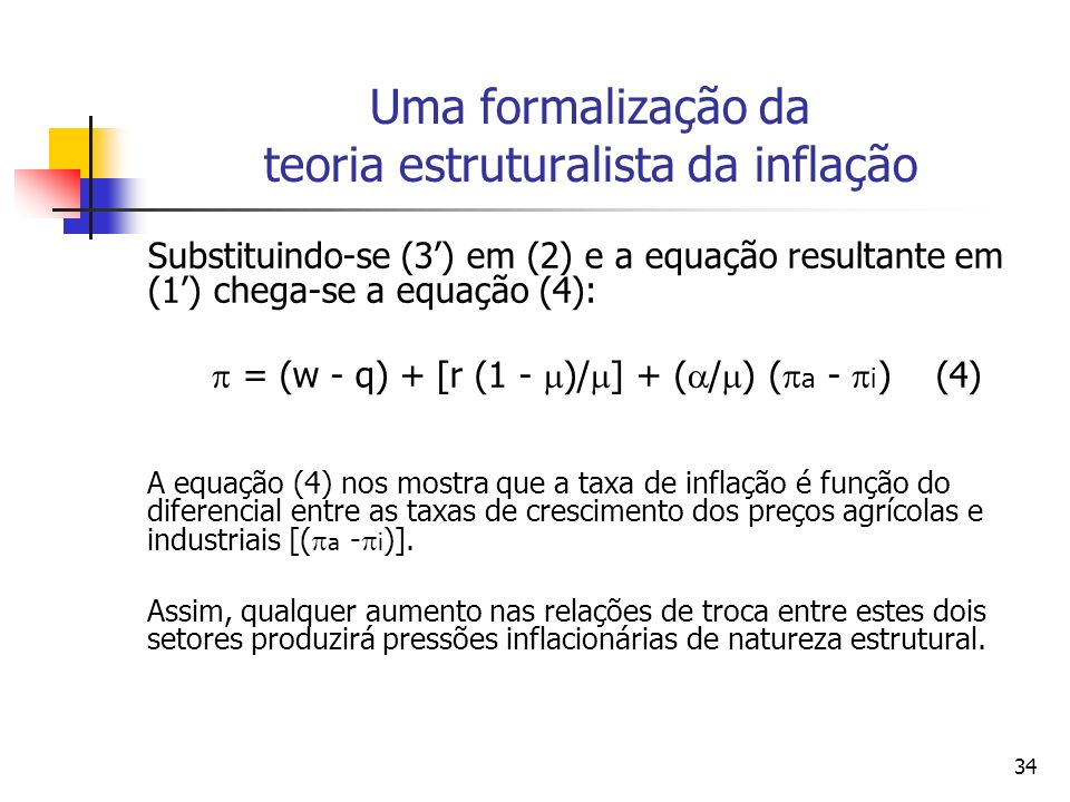 Uma formalização da teoria estruturalista da inflação