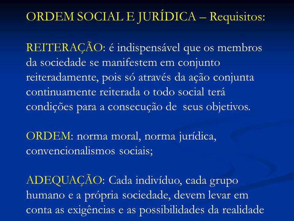 ORDEM SOCIAL E JURÍDICA – Requisitos: