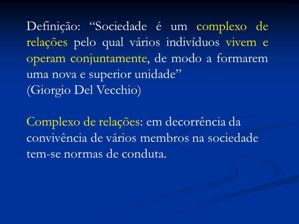 Definição: Sociedade é um complexo de relações pelo qual vários indivíduos vivem e operam conjuntamente, de modo a formarem uma nova e superior unidade