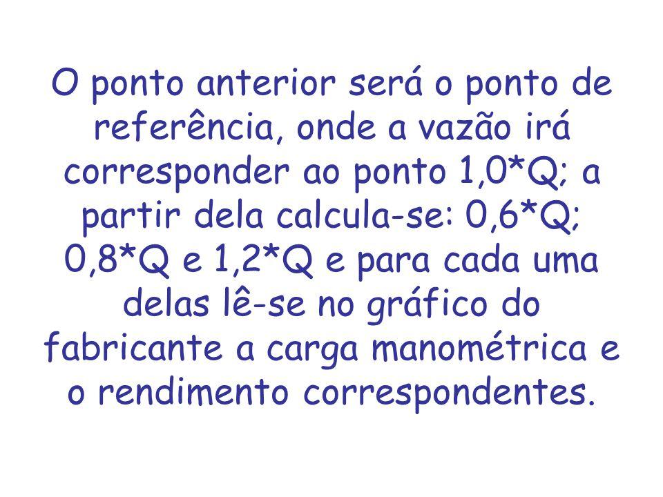 O ponto anterior será o ponto de referência, onde a vazão irá corresponder ao ponto 1,0*Q; a partir dela calcula-se: 0,6*Q; 0,8*Q e 1,2*Q e para cada uma delas lê-se no gráfico do fabricante a carga manométrica e o rendimento correspondentes.