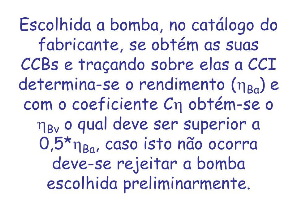 Escolhida a bomba, no catálogo do fabricante, se obtém as suas CCBs e traçando sobre elas a CCI determina-se o rendimento (hBa) e com o coeficiente Ch obtém-se o hBv o qual deve ser superior a 0,5*hBa, caso isto não ocorra deve-se rejeitar a bomba escolhida preliminarmente.