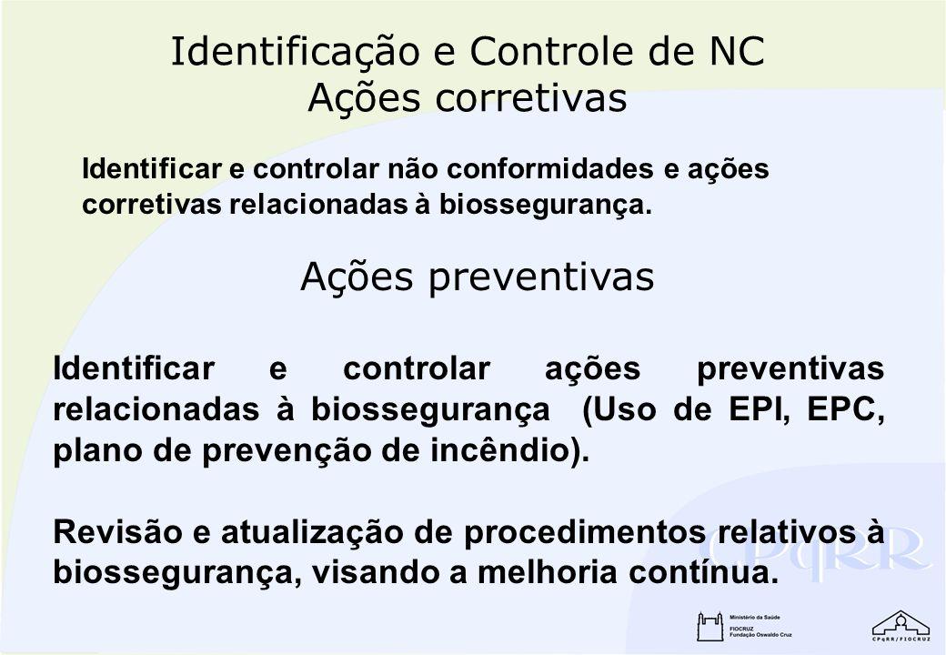 Identificação e Controle de NC Ações corretivas