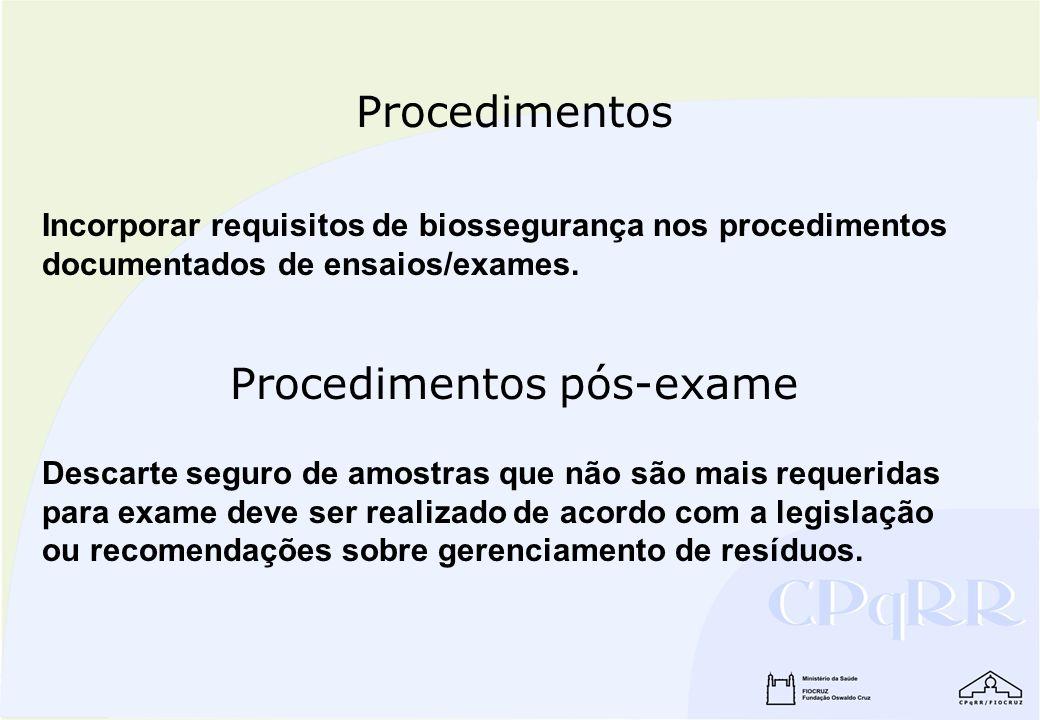 Procedimentos pós-exame