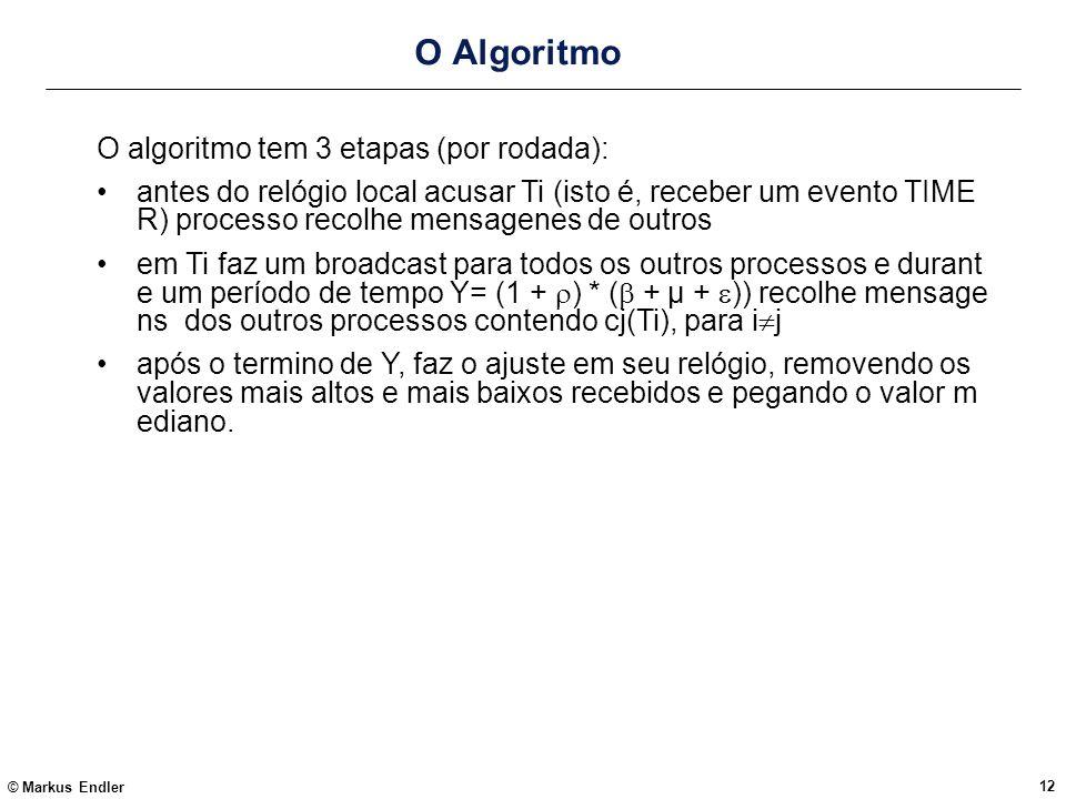 O Algoritmo O algoritmo tem 3 etapas (por rodada):