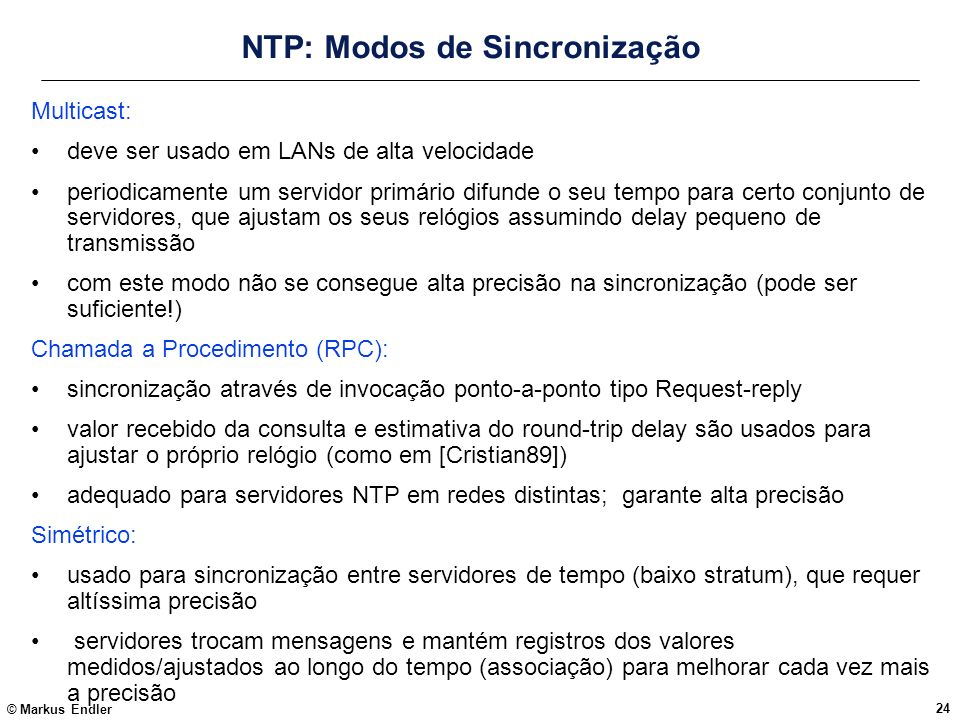 NTP: Modos de Sincronização