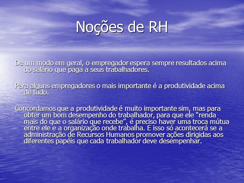 Noções de RH De um modo em geral, o empregador espera sempre resultados acima do salário que paga a seus trabalhadores.