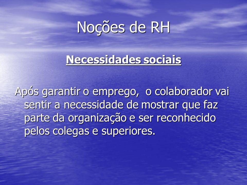 Noções de RH Necessidades sociais