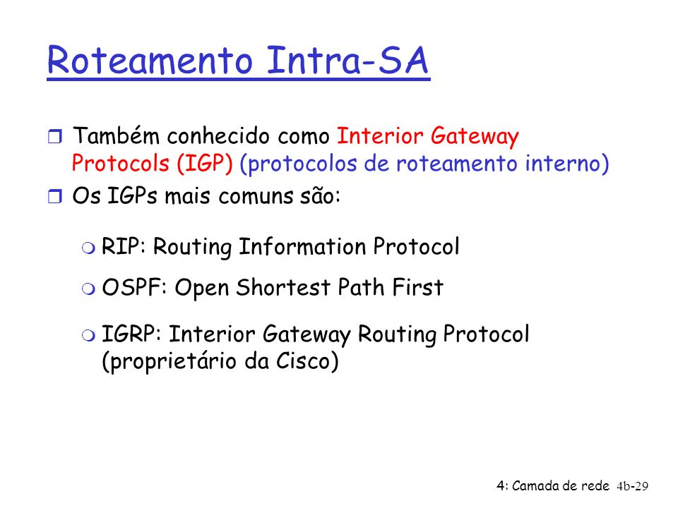 Roteamento Intra-SATambém conhecido como Interior Gateway Protocols (IGP) (protocolos de roteamento interno)