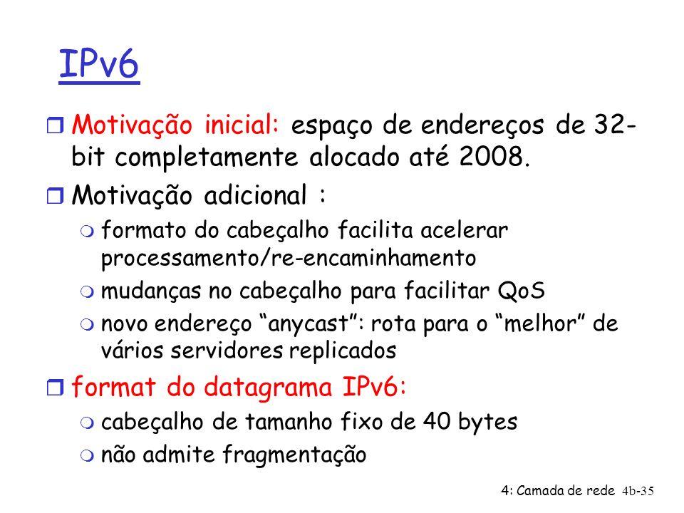 IPv6 Motivação inicial: espaço de endereços de 32-bit completamente alocado até 2008. Motivação adicional :