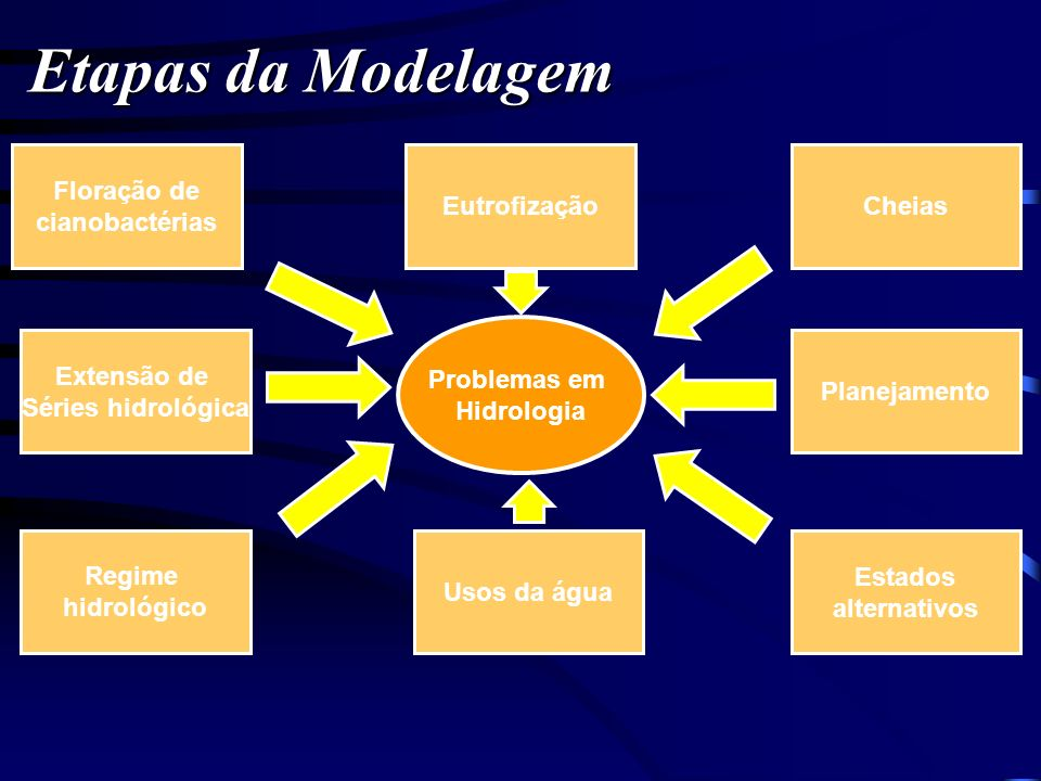 Etapas da Modelagem Floração de cianobactérias Eutrofização Cheias