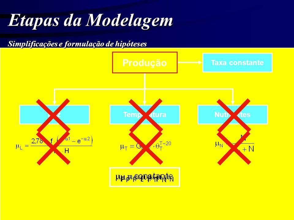 Etapas da Modelagem Produção Simplificações e formulação de hipóteses