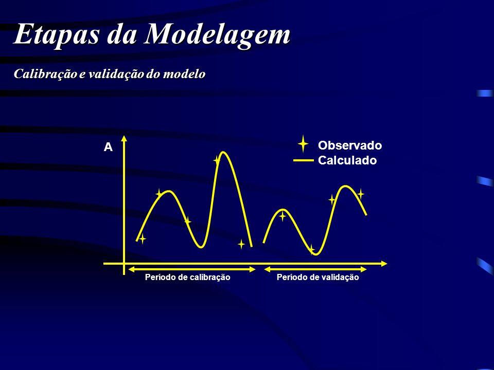 Etapas da Modelagem Calibração e validação do modelo Observado A