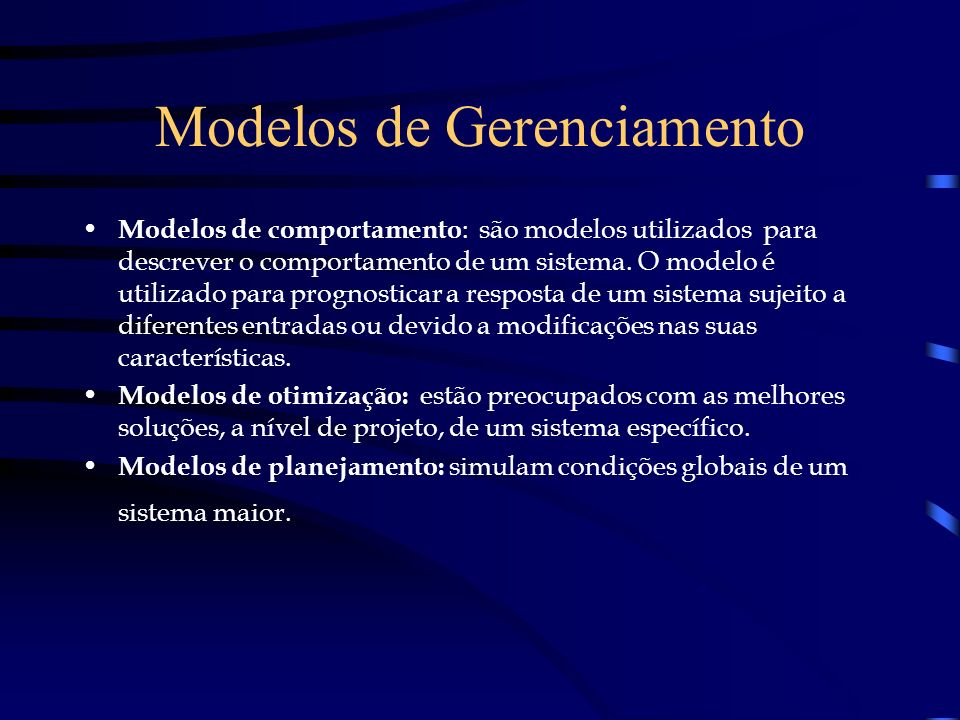 Modelos de Gerenciamento