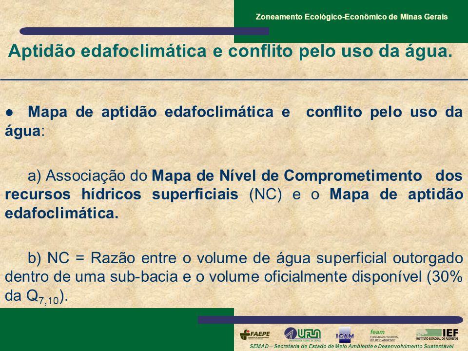 Aptidão edafoclimática e conflito pelo uso da água.