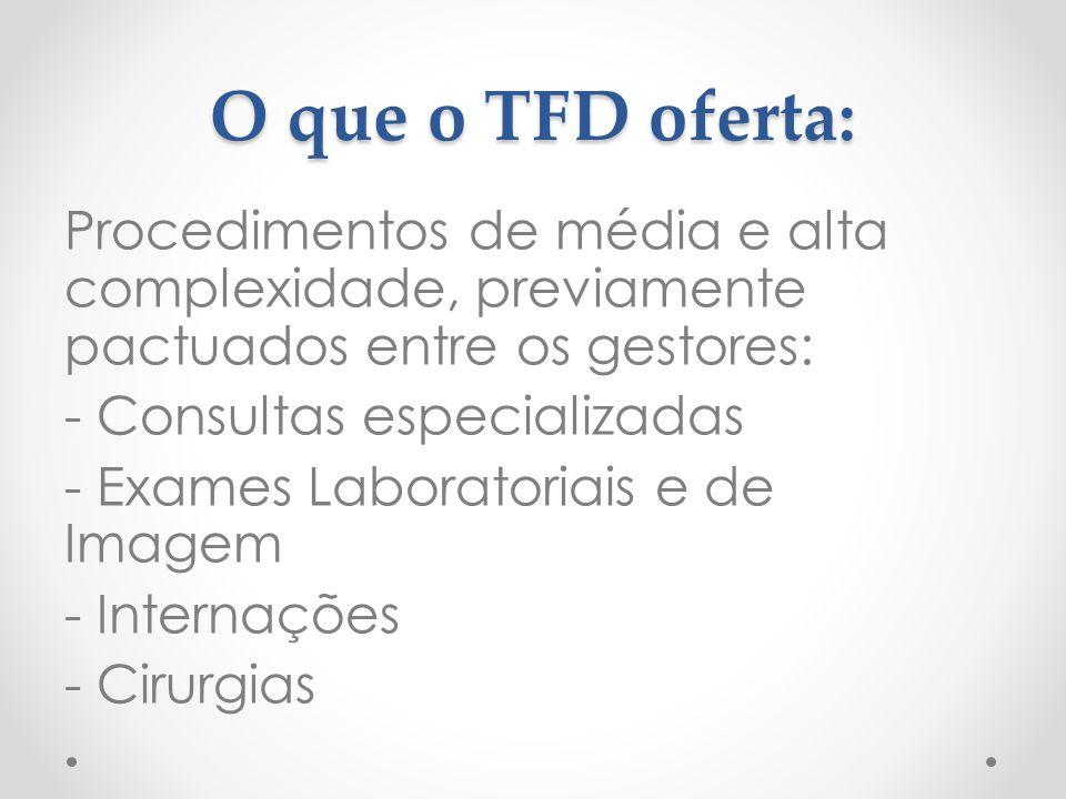 O que o TFD oferta:
