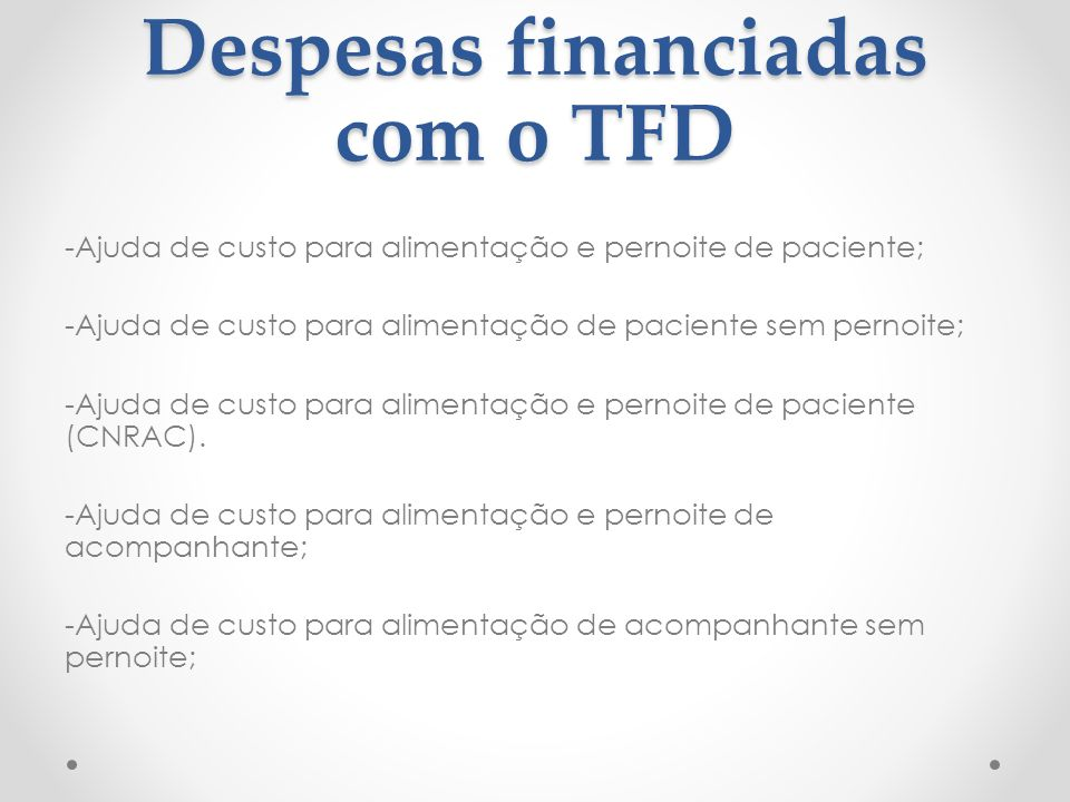 Despesas financiadas com o TFD