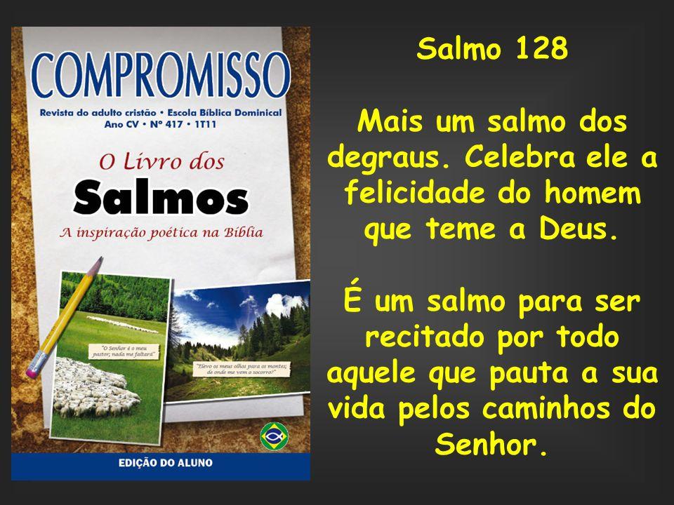 Salmo 128 Mais um salmo dos degraus. Celebra ele a felicidade do homem que teme a Deus.