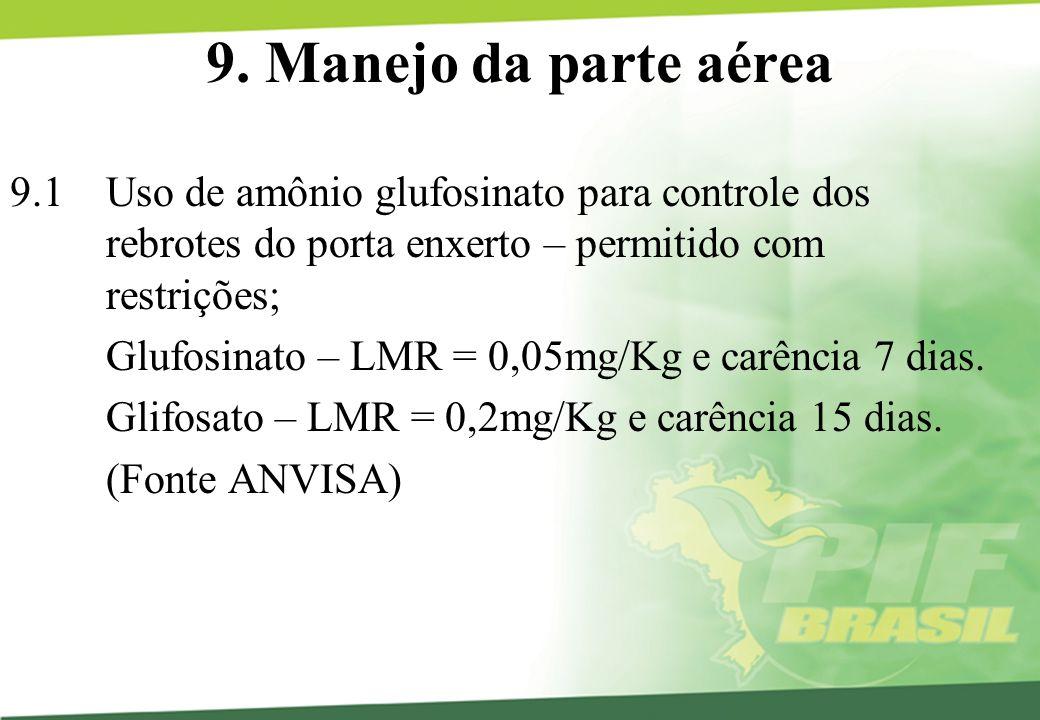 9. Manejo da parte aérea 9.1 Uso de amônio glufosinato para controle dos rebrotes do porta enxerto – permitido com restrições;
