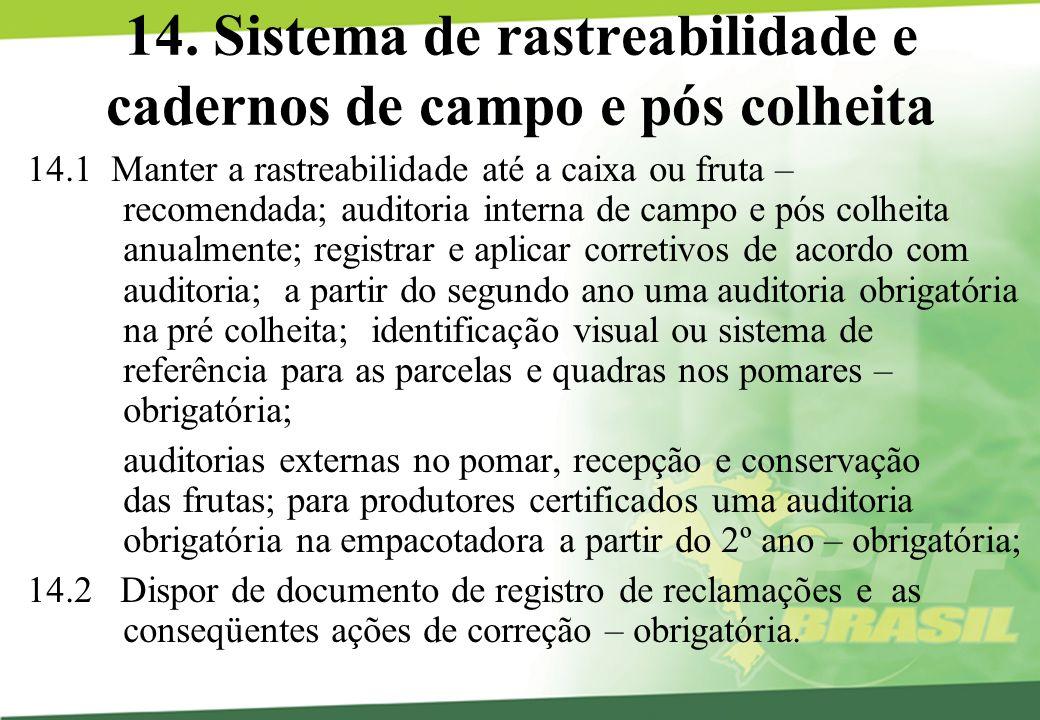 14. Sistema de rastreabilidade e cadernos de campo e pós colheita