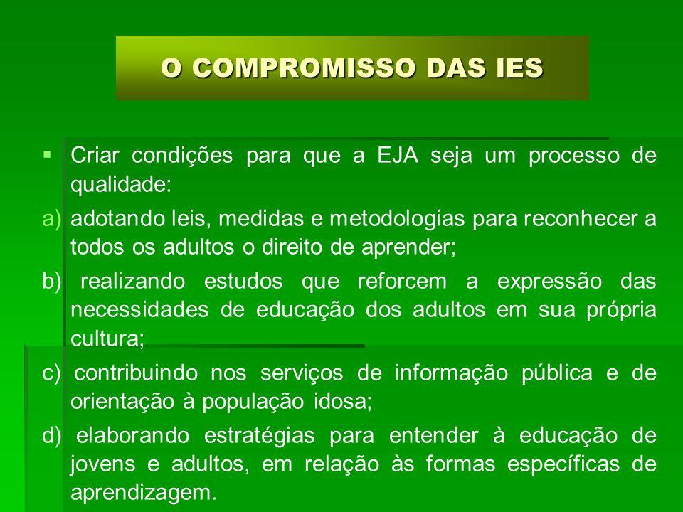 O COMPROMISSO DAS IES Criar condições para que a EJA seja um processo de qualidade: