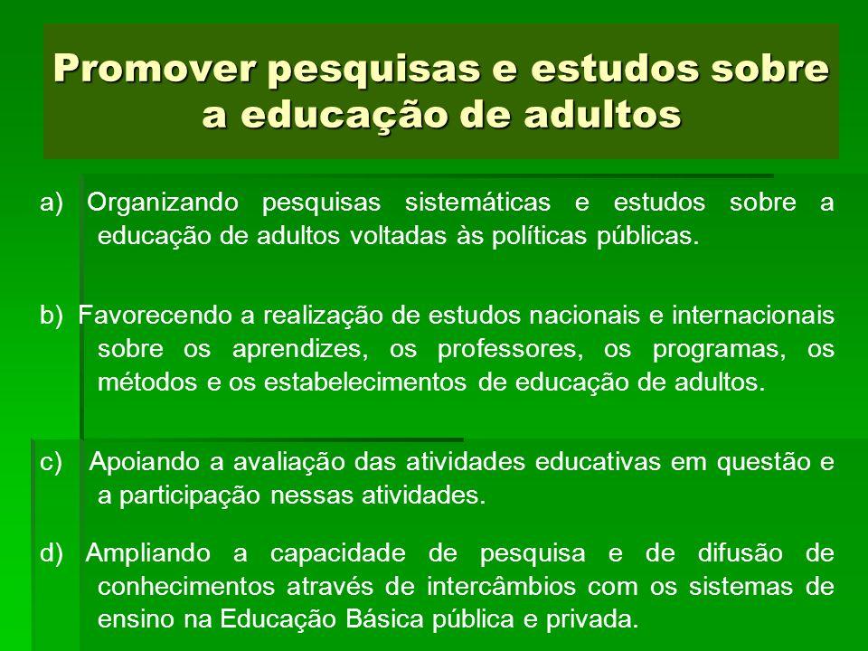 Promover pesquisas e estudos sobre a educação de adultos