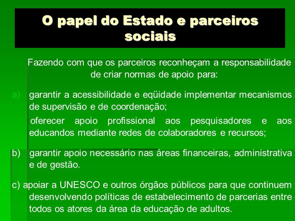 O papel do Estado e parceiros sociais