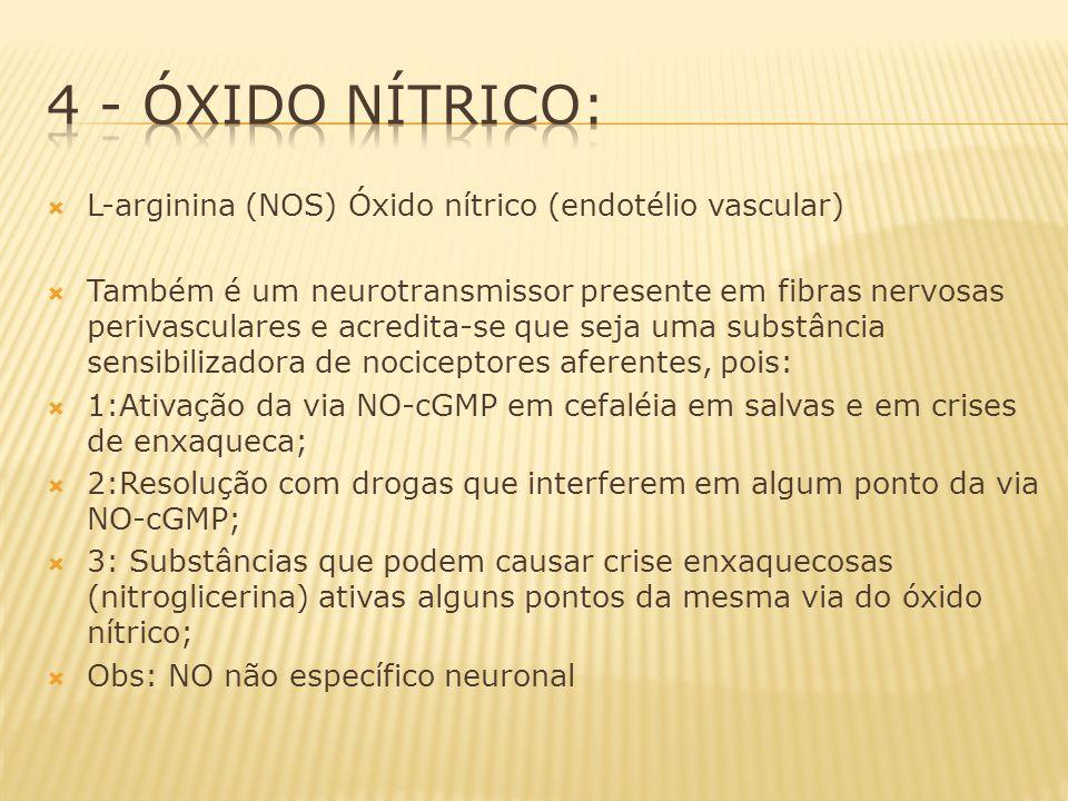 4 - Óxido Nítrico: L-arginina (NOS) Óxido nítrico (endotélio vascular)