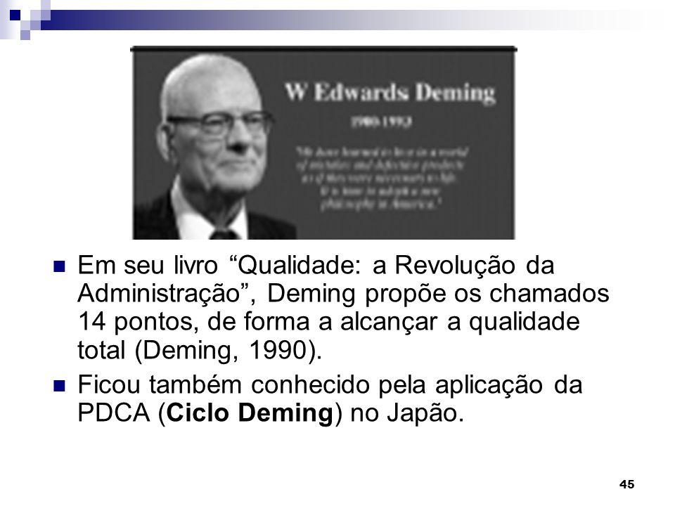 Em seu livro Qualidade: a Revolução da Administração , Deming propõe os chamados 14 pontos, de forma a alcançar a qualidade total (Deming, 1990).