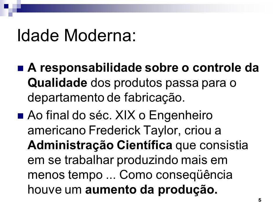 Idade Moderna: A responsabilidade sobre o controle da Qualidade dos produtos passa para o departamento de fabricação.
