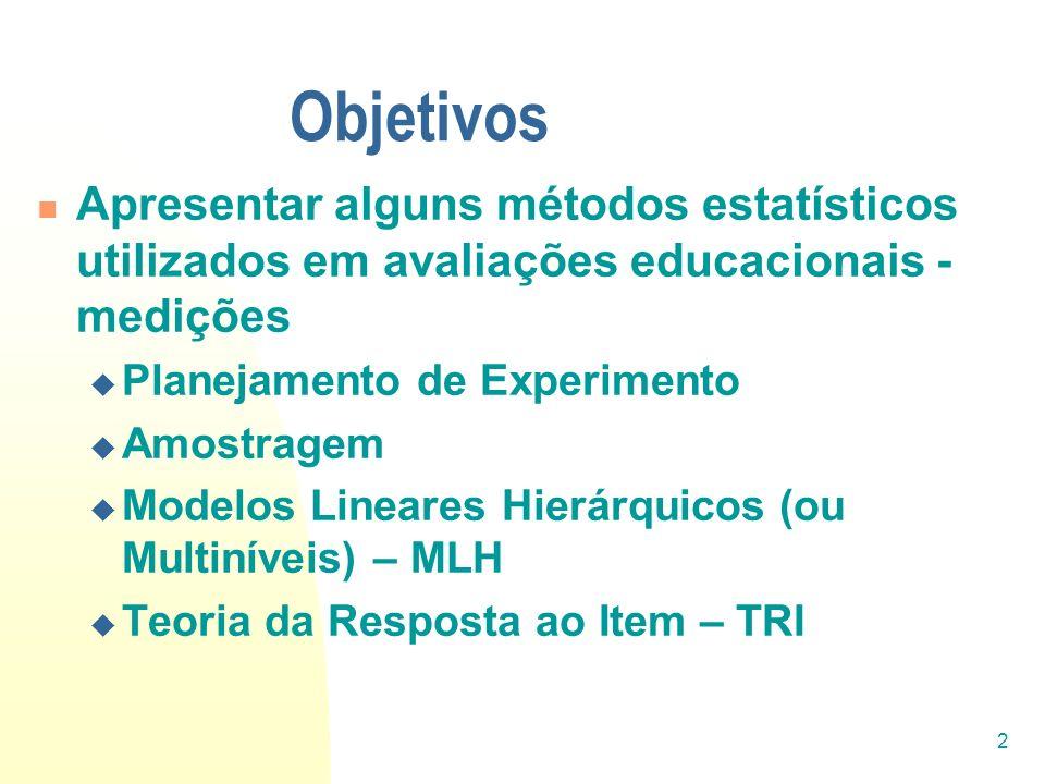 Objetivos Apresentar alguns métodos estatísticos utilizados em avaliações educacionais - medições. Planejamento de Experimento.