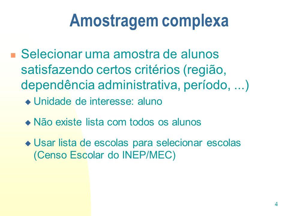 Amostragem complexaSelecionar uma amostra de alunos satisfazendo certos critérios (região, dependência administrativa, período, ...)