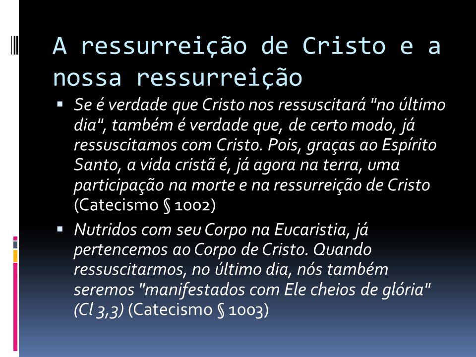 A ressurreição de Cristo e a nossa ressurreição