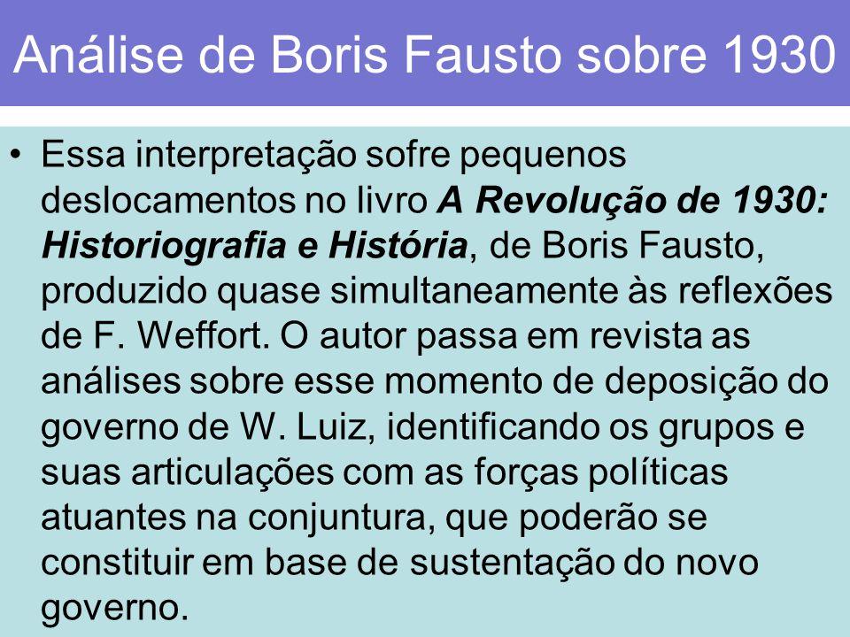 Análise de Boris Fausto sobre 1930