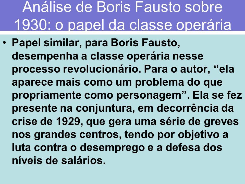 Análise de Boris Fausto sobre 1930: o papel da classe operária