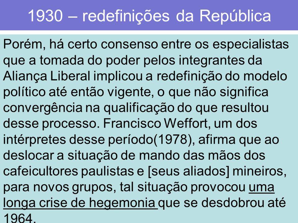 1930 – redefinições da República